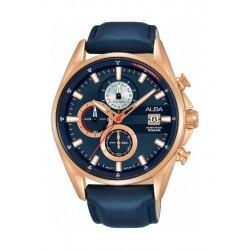 Alba Quartz 43mm Chronograph Gent's Leather Sports Watch (AM3584X1) - Blue