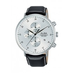 Alba 44mm Quartz Chronograph Gent's Leather Watch - AM3615X1