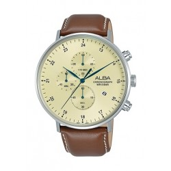 Alba 44mm Quartz Chronograph Gent's Leather Watch - AM3617X1