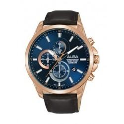 Alba Quartz 44mm Chronograph Gent's Leather Watch - AM3656X1