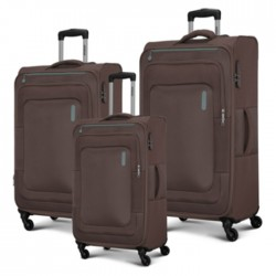 American Tourister Duncan Spinner Soft 3 Pieces Set Luggage Brown buy in xcite kuwait