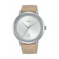 Alba Quartz 42.5mm Analogue Gent's Leather Watch (AS9F45X1) - Beige