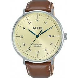 Alba 44mm Analog Gents Leather Watch (AS9G07X1) - Brown