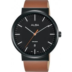 Alba 43mm Analog Gents Leather Watch (AS9G19X1) - Black