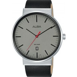 Alba 43mm Analog Gents Leather Watch (AS9G21X1) - Black