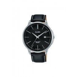 Alba 42.5mm Analog Gents Leather Watch (AS9G37X1) - Black