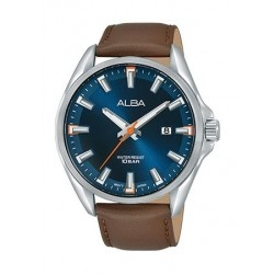 Alba Quartz 44mm Analog Gent's Leather Watch - AS9G85X1