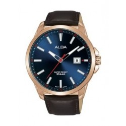 Alba Quartz 44mm Analog Gent's Leather Watch - AS9H10X1