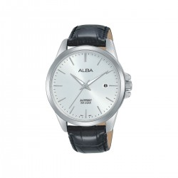 Alba 41mm Analog Gents Leather Watch (AS9J15X1) - Black