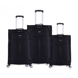 Ashare Set Of 3 Soft Luggage (456) - Black