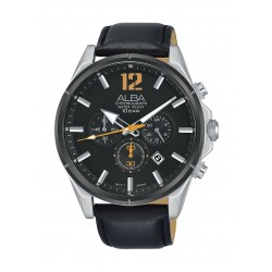 Alba Gents Sports Chronograph 44mm Leather Watch (AT3C77X1) - Black