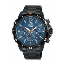 Alba Gents Sports Chronograph 44.5mm Metal Watch (AT3C83X1) - Black