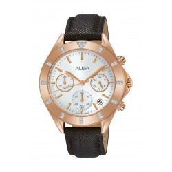 Alba Ladies Fashion Chronograph 37 mm Leather Watch (AT3D14X1) - Black