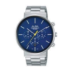 Alba 43mm Chronograph Gents Metal Watch (AT3E51X1) - Silver