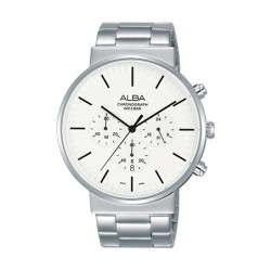 Alba 43mm Chronograph Gents Metal Watch (AT3E31X1) - Silver