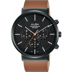 Alba 43mm Chronograph Gents Leather Watch (AT3E33X1) - Brown
