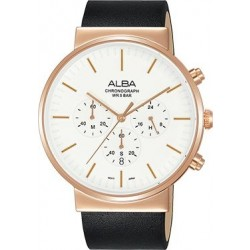 Alba 43mm Chronograph Gents Leather Watch (AT3E34X1) - Black