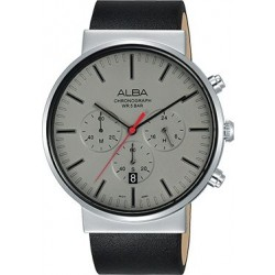 Alba 43mm Chronograph Gents Leather Watch (AT3E35X1) - Black