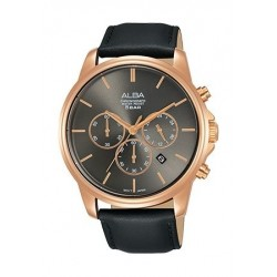Alba Quartz 43mm Chronograph Gent's Leather Watch - AT3E50X1