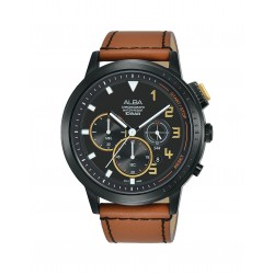 Alba 44mm Chronograph Gents Leather Casual Watch (AT3F39X1)