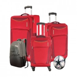 American Tourister Portland 4 Set Luggage With Football - Red