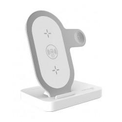 Promate AuraBase Charging Stand For Apple iPhone/Apple Watch - White