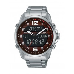 Alba AZ4007X1 Gents Sport Analog Digital Metal Watch - Silver