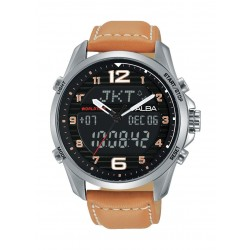 Alba AZ4013X1 Gents Sport Analog Digital Leather Watch - Brown