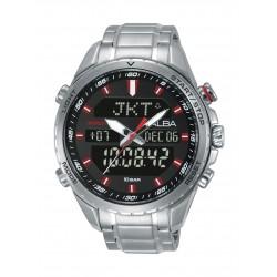 Alba Gents Sport Analog Digital 45 mm Metal Watch (AZ4061X1) - Silver