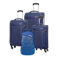 American Tourister Art Holiday (55+68+80) CM Soft Luggage Set + Backpack  - Navy