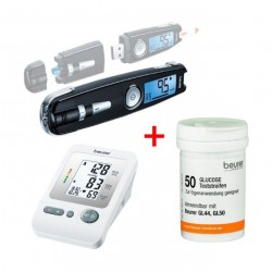 Beurer GL 50 Glucose Monitor with USB Input + Glucose Monitor Test Strips (50 Pieces) + BM26 Blood Pressure Monitor