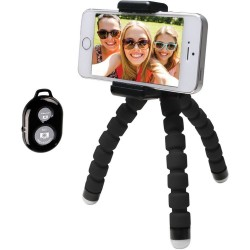 Bower Compact Selfie BendiPod With Remote - Black