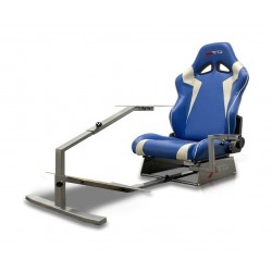 GTR Simulator Touring Model Simulator with Silver Frame and Adjustable Leatherette Racing Seat - Blue/White