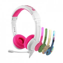 BuddyPhones School+ Wired Kids Gaming Headphones - Pink