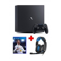 Sony PS4 Pro 1TB Gaming Console (PAL) – Black + FIFA 18 Standard Edition: PlayStation 4 Game (NTSC) + Sennheiser GSP 300 Wired Gaming Headset - Black