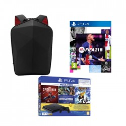 EQ Hard Case Backpack for up to 15.6-inch Laptop + PlayStation 4 Slim 500GB Mega Pack Bundle With 3 Games (Spider Man + Uncharted 1/2/3 Collections + Ratchet & Clank) + FIFA 21 Standard Edition - PS4 Game