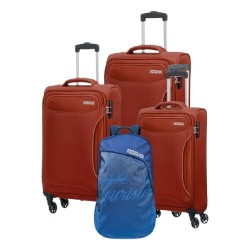 American Tourister Art Holiday (55+68+80) CM Soft Luggage Set + Backpack  - Burgundy