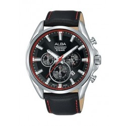 Alba 50mm Chronograph Gents Leather Watch (AT3E63X1) - Black