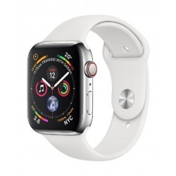 Apple Watch Series 4 + Cellular, 40mm Stainless Steel Case With White Sport Band 2