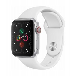 Apple Watch Series 5 GPS+Cellular 40mm Silver Aluminum Case with White Band