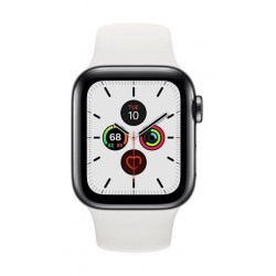 Apple Watch Series 5 GPS+Cellular 40mm Stainless Steel Case with White Band 2