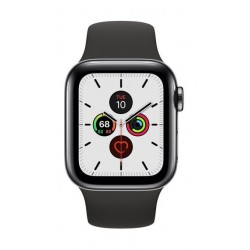 Apple Watch Series 5 GPS+Cellular 44mm Black Stainless Steel Case with Black Band