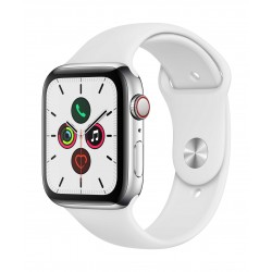Apple Watch Series 5 GPS+Cellular 44mm Stainless Steel with White Sport Band