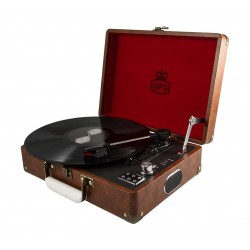 GPO Attache Record Player with Built-in Speaker - Brown