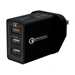 Promate Kraft-QC 30W Quick Charge QC 3.0 Wall Charger with 3 USB Ports - Black