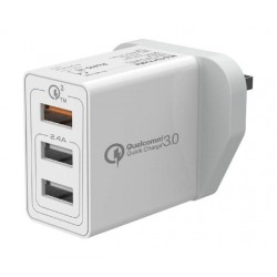 Promate Kraft-QC 30W Quick Charge QC 3.0 Wall Charger with 3 USB Ports - White