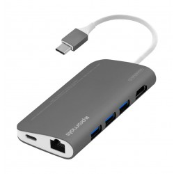 Promate CorHub-C Premium High-Speed 8-in-1 USB 3.1 Type-C USB Hub (COREHUB-C.GREY) - Grey