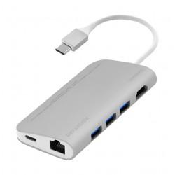 Promate CorHub-C Premium High-Speed 8-in-1 USB 3.1 Type-C USB Hub (COREHUB-C.SILVER) - Silver