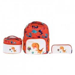 EQ Kids 3 in 1 Dino Backpack set - Orange (Small)