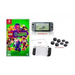 LEGO DC Super-Villains Switch Game + NS Screen Guard + NS Cover + Hama 8-in-1 Control Stick Attachments